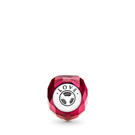 Charm AMOUR, cristal rouge fuchsia, Argent sterling, Silicone, Rose, Cristal - PANDORA - #796600NFR