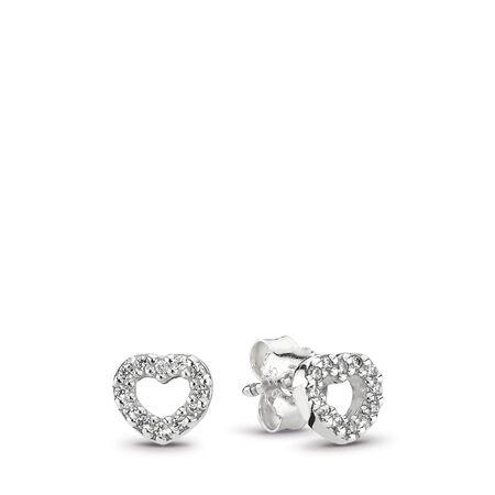 Be My Valentine Heart Stud Earrings, Clear CZ, Sterling silver, Cubic Zirconia - PANDORA - #290528CZ