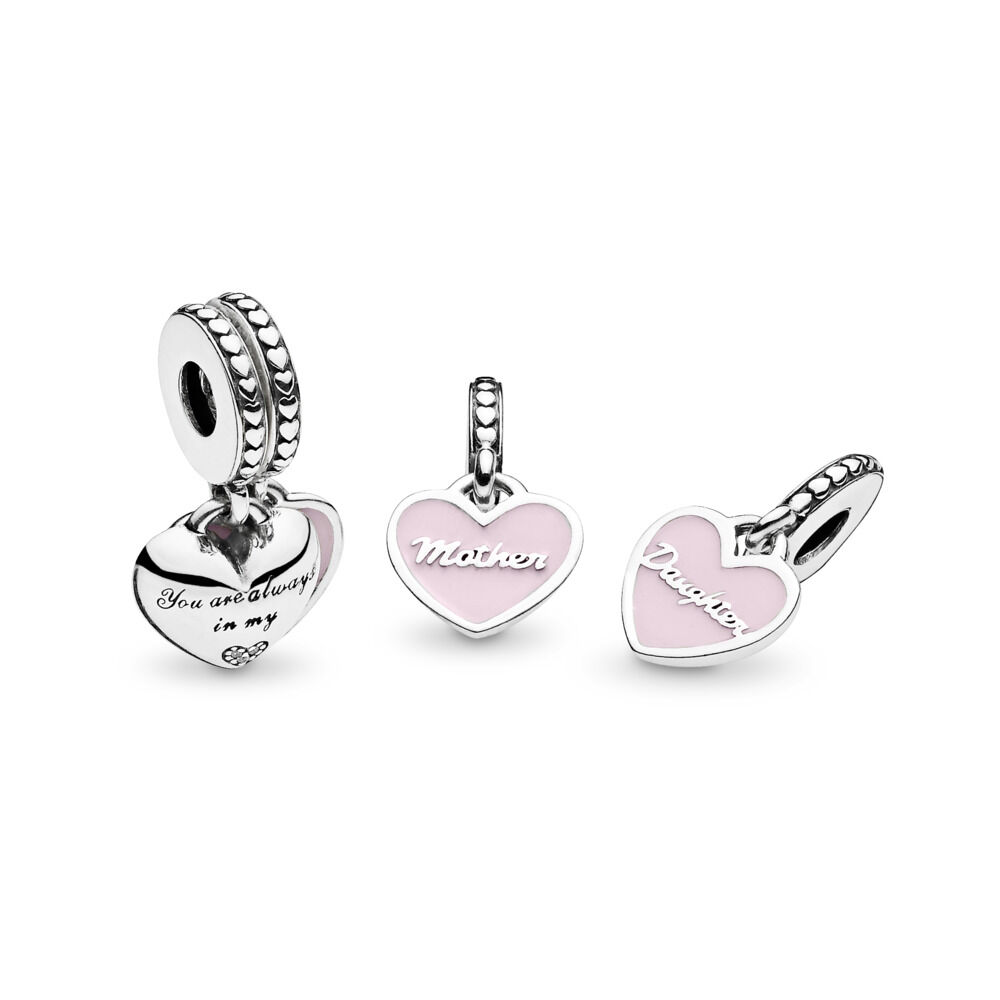 3fa16b0d8c941 Mother & Daughter Hearts Dangle Charm with Clear CZ