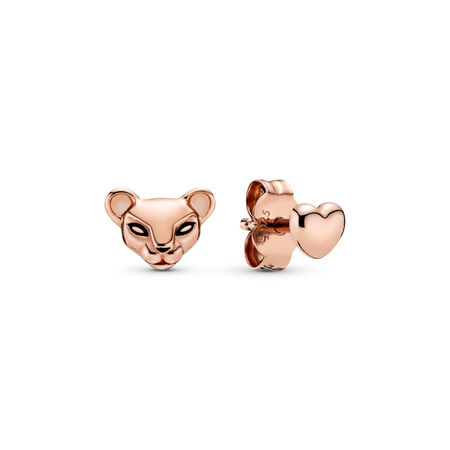 Lion Princess & Heart Mismatched Stud Earrings