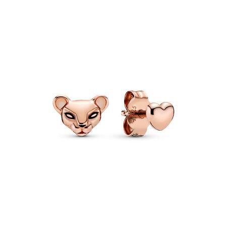 Clous d'oreilles dépareillés Princesse lionne et cœur