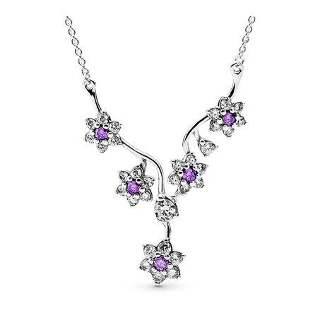 Forget Me Not, Purple & Clear CZ, Sterling silver, Purple, Cubic Zirconia - PANDORA - #590519ACZ