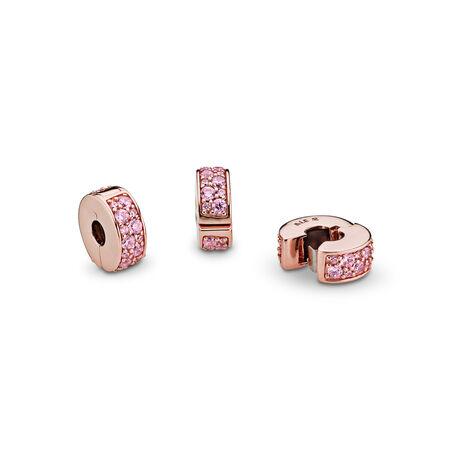 Shining Elegance, PANDORA Rose™ & Pink CZ, PANDORA Rose, Silicone, Pink, Cubic Zirconia - PANDORA - #781817PCZ