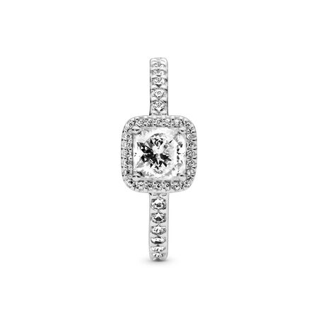 Square Sparkle Ring, Sterling silver, Cubic Zirconia - PANDORA - #190947CZ
