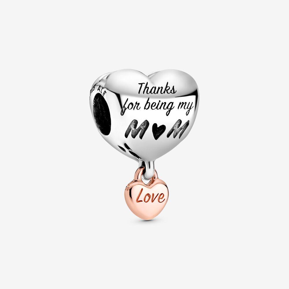 Charm Cœur « Love You Mom » | Bicolore | Pandora Canada