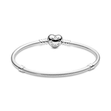 Moments Sparkling Heart & Snake Chain Bracelet, Sterling silver, Cubic Zirconia - PANDORA - #590727CZ