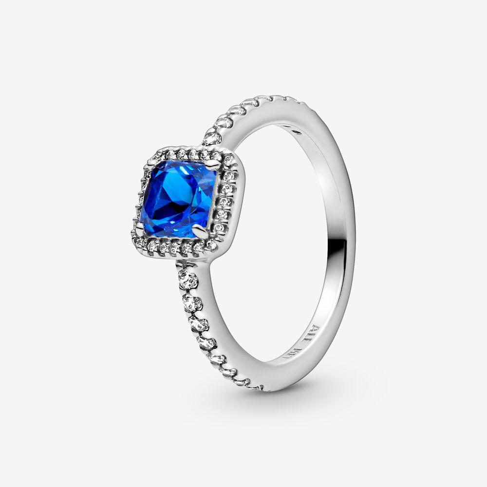 Bague Halo carrée bleue scintillante | Argent sterling | Pandora ...
