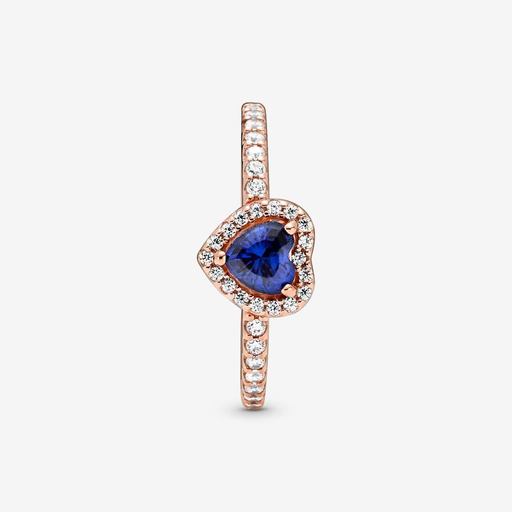Bague scintillante Cœur surélevé bleu   Plaqué or rose   Pandora ...