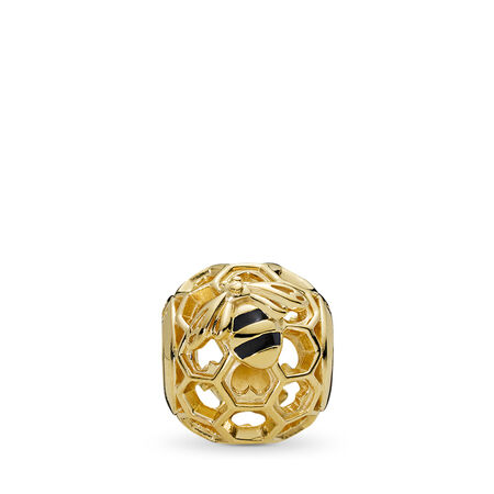 PANDORA Honeybee Charm, PANDORA Shine™, 18ct gold-plated sterling silver, Enamel, Black - PANDORA - #767023EN16