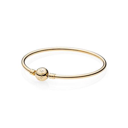 Bracelet rigide en or 14 carats avec fermoir signature