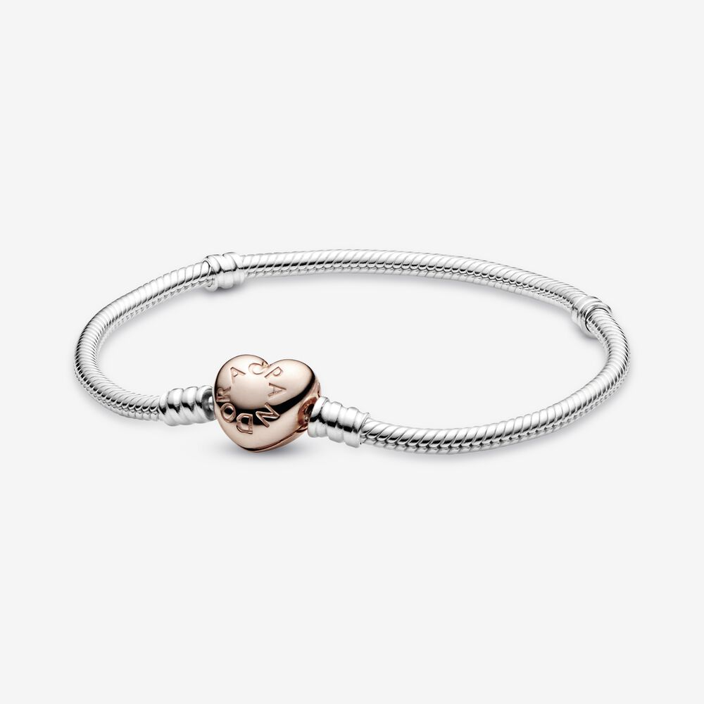 Sterling Silver Bracelet with Pandora Rose™ Heart Clasp | Bicolore ...