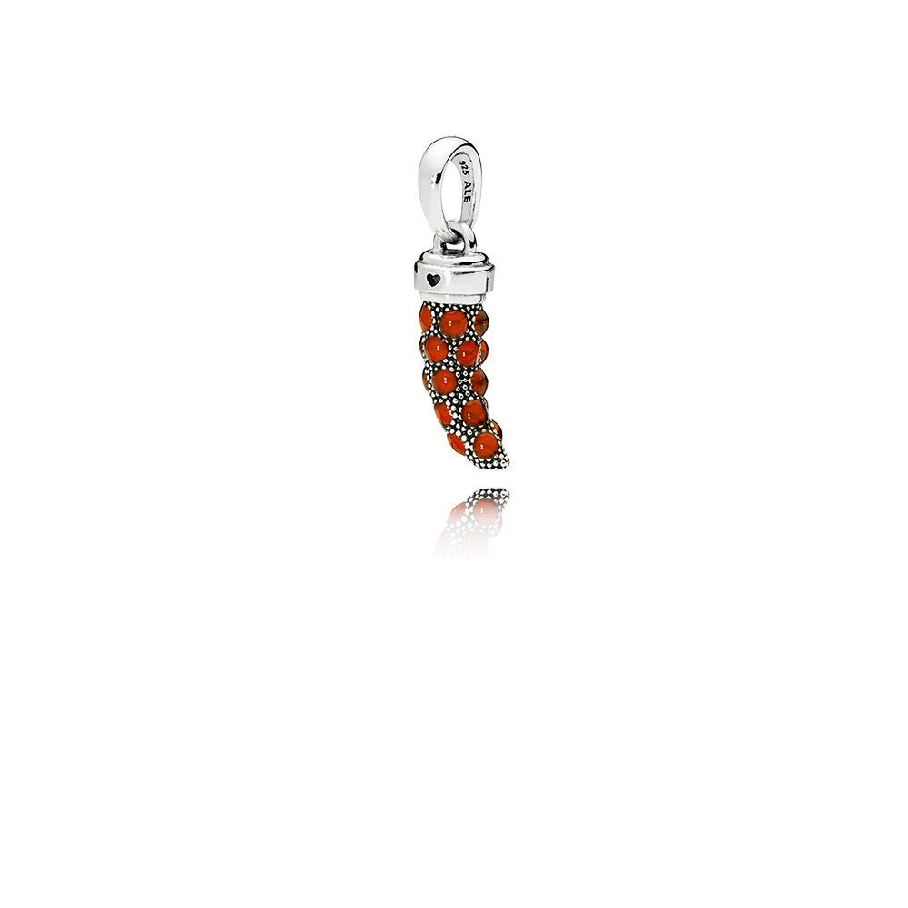 Limited Edition Italian Horn Amulet Pendant Red Enamel