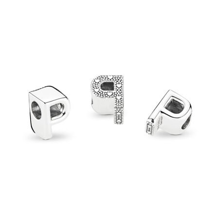 Letter P Charm, Sterling silver - PANDORA - #797470