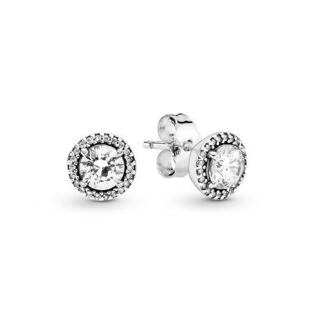 Classic Elegance Stud Earrings, Clear CZ, Sterling silver, Cubic Zirconia - PANDORA - #296272CZ