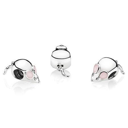 Cute Mouse Charm, Pink Enamel