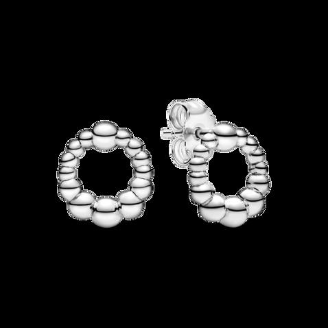 Beaded Circle Stud Earrings