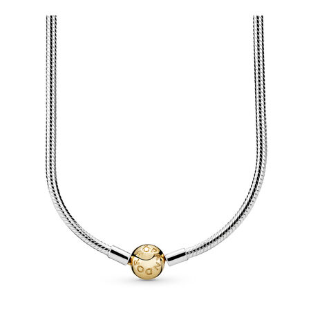 Collier en argent sterling avec fermoir signature en or 14 carats