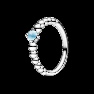 December Sky Blue Beaded Ring