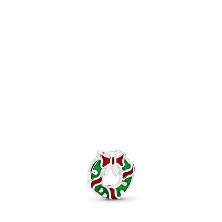 Mini Couronne des fêtes, émaux rouge baie et vert, Argent sterling, émail, Vert, Aucune pierre - PANDORA - #796397ENMX