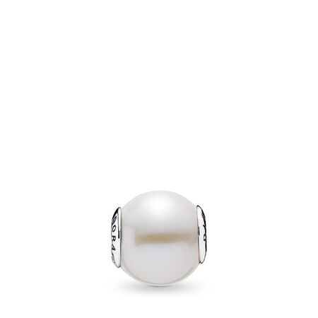 DIGNITY, Freshwater Cultured Pearl, Sterling silver, Silicone, White, Freshwater cultured pearl - PANDORA - #796068P
