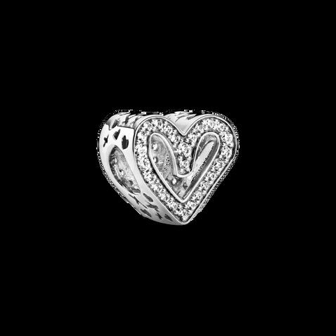 Charm en cœur dessiné à main levée scintillant