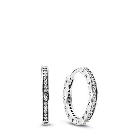 PANDORA Signature Earrings, Clear CZ, Sterling silver, Cubic Zirconia - PANDORA - #290558CZ