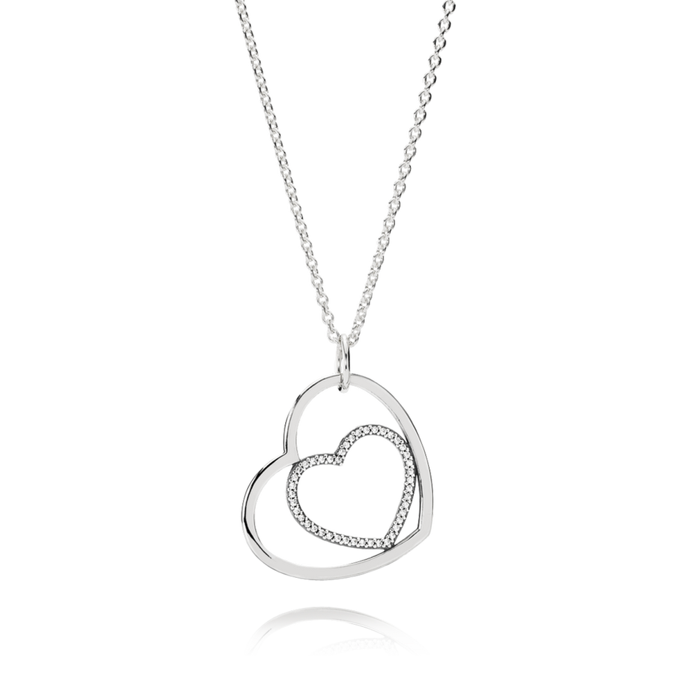 Heart to heart pendant necklace clear cz pandora jeweller heart to heart pendant necklace clear cz aloadofball Images