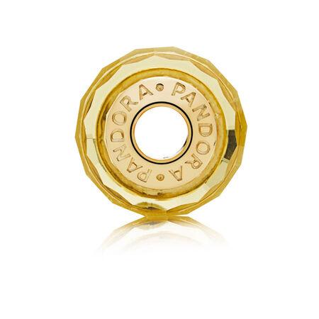 Charm en verre de Murano facetté doré