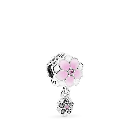 Magnolia Bloom, Pale Cerise Enamel, Pink & Clear CZ