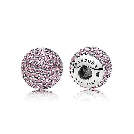 Pavé Open Bangle End Caps, Pink CZ