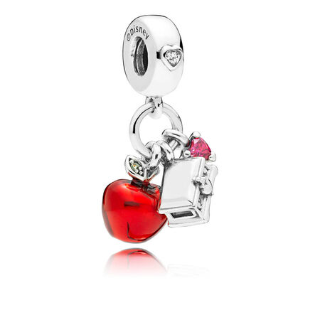 Disney, Snow White's Apple & Heart Dangle Charm, Red & Green CZ & Red Enamel