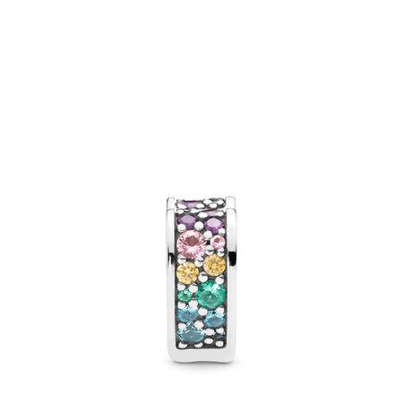 Clip Arcs d'amour scintillants multicolores, cz multicolore et cristaux, Argent sterling, Silicone, Bleu, Pierres mélangées - PANDORA - #797020NRPMX