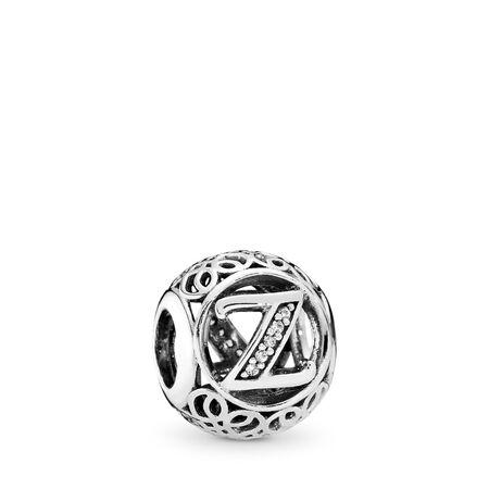 Z rétro, cz incolore, Argent sterling, Aucun autre matériel, Aucune couleur, Zircon cubique - PANDORA - #791870CZ