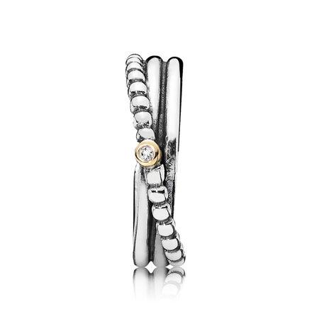 Rising Star, Silver ring, 14k, 0.01ct TW h/vs diamond, Two Tone, Diamond h/vs - PANDORA - #190243D