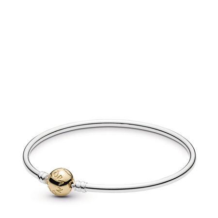 Silver Bangle Charm Bracelet With 14K Gold Clasp, Two Tone - PANDORA - #590718