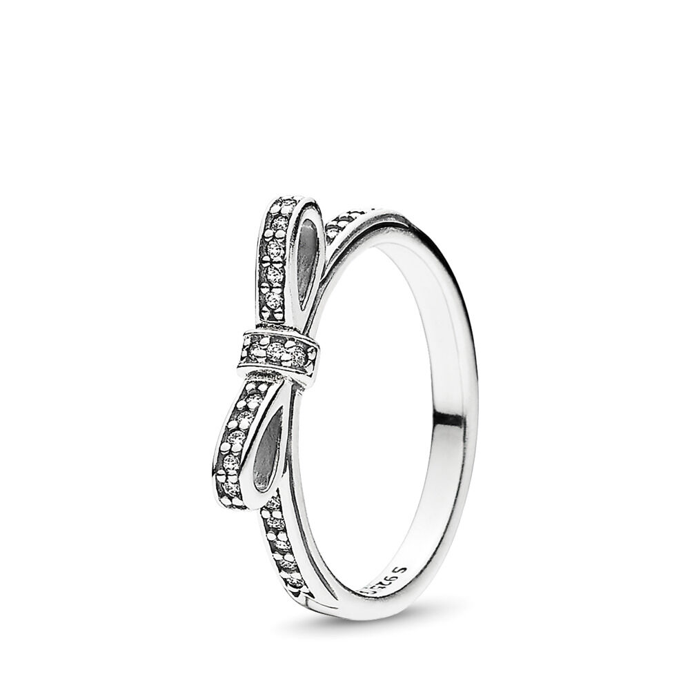 d77e7e90d Sparkling Bow Stackable Ring, Clear CZ, Sterling silver, Cubic Zirconia -  PANDORA -