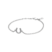 Symbol of Luck Horseshoe Bracelet, Clear CZ
