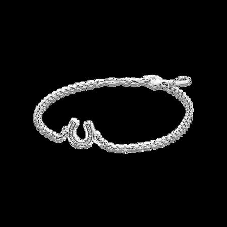 Symbol of Luck Horseshoe Bracelet, Clear CZ