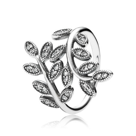 Sparkling Leaves Ring, Clear CZ, Sterling silver, Cubic Zirconia - PANDORA - #190921CZ