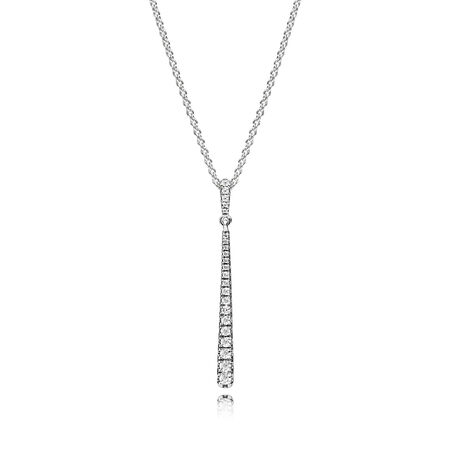Shooting Star Necklace, Clear CZ