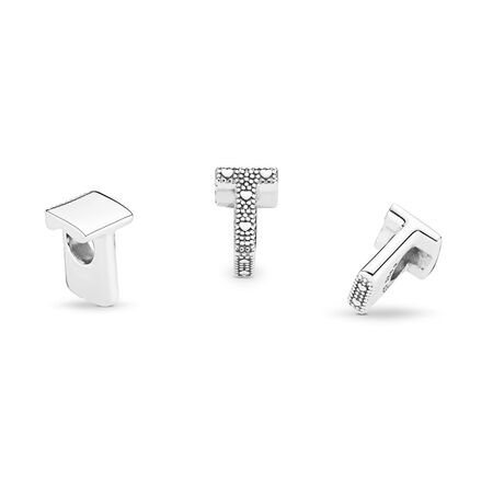 Letter T Charm, Sterling silver - PANDORA - #797474