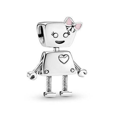 Bella Bot Charm, Pink Enamel