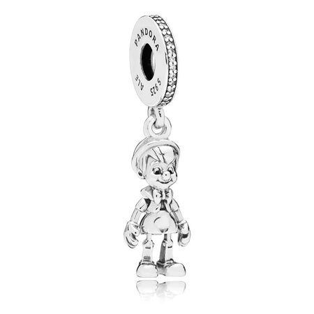 Charm pendentif Disney, Pinocchio, cz incolore