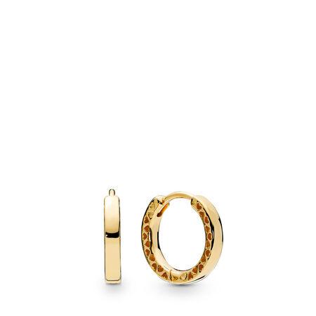 Boucles d'oreilles en anneau Cœurs de PANDORA, Or Plaqué 18ct, Aucun autre matériel, Aucune couleur, Aucune pierre - PANDORA - #267939