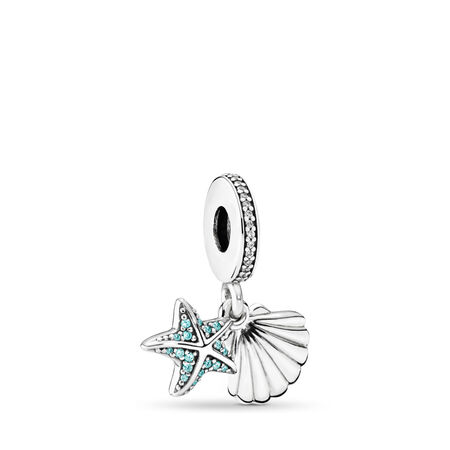 Tropical Starfish, & Sea Shell, Frosty Mint & Clear CZ