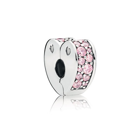 Pink Arcs of Love Clip, Pink CZ