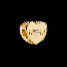 Charm Cœur transparent avec inscription «Mom»