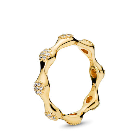 Modern LovePods™ PANDORA Shine™ Ring, Clear CZ, 18ct gold-plated sterling silver, Cubic Zirconia - PANDORA - #167295CZ