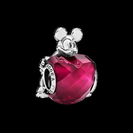 Charm Disney, Cœur amoureux de Mickey, cristal rose fuchsia