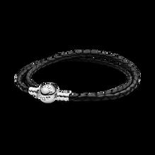 Bracelet double en cuir noir PandoraMoments